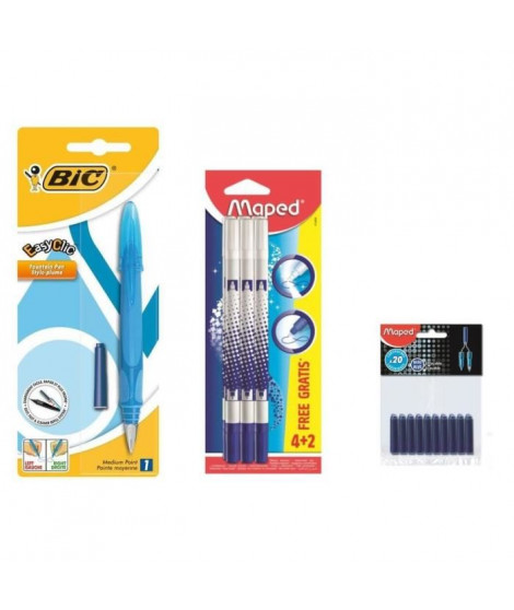 Pack BIC Stylo Plume Easy Clic + 6 Effaceurs + 40 Cartouches