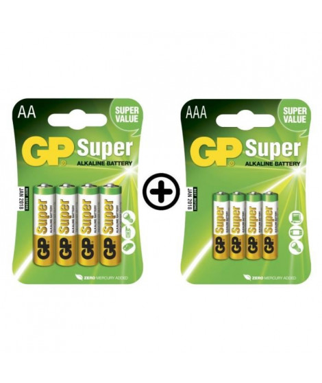 GP Batteries - Lot de 4 Piles AA LR06 et 4 Piles AAA LR03