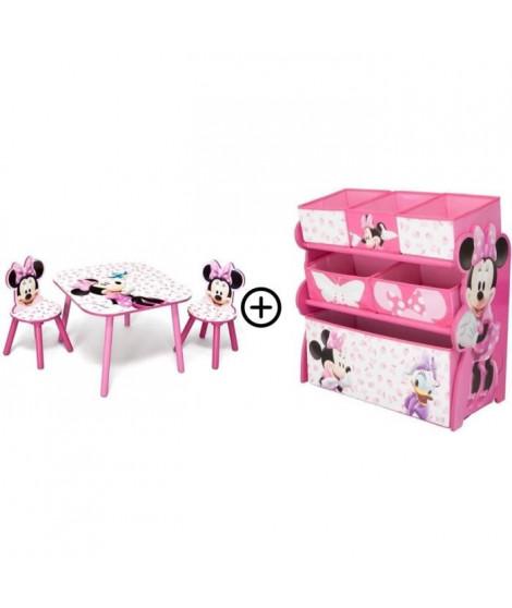 Minnie - Deltakids - Table + Chaises + Etagere - Chambre Fille - A partir de 3 ans