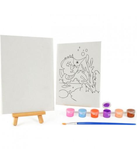 MAIN D'ARTISTE Coffret 6 godets acrylique + 2 tableaux a peindre 13x18cm et 11x15cm + 1 chevalet