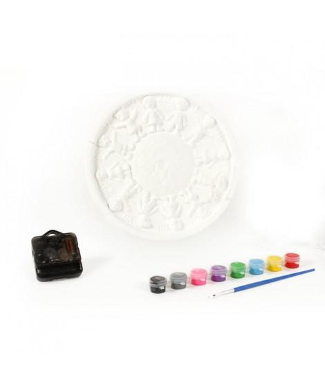 MAIN D'ARTISTE Coffret horloge 22 cm avec 3 aiguilles + 8 godets de peinture + 2 pinceaux
