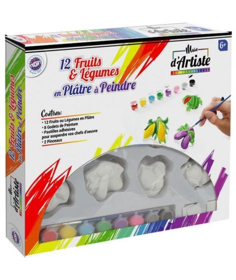 MAIN D'ARTISTE Coffret de 12 fruits de 7 cm en plâtre a peindre + 8 godets de peinture + 1 pinceau