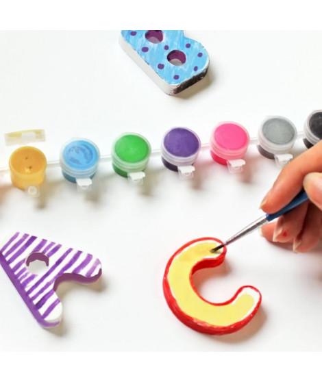 MAIN D'ARTISTE Coffret alphabet en plâtre a peindre avec 26 lettres en 3D + 8 godets de peinture + 2 pinceaux