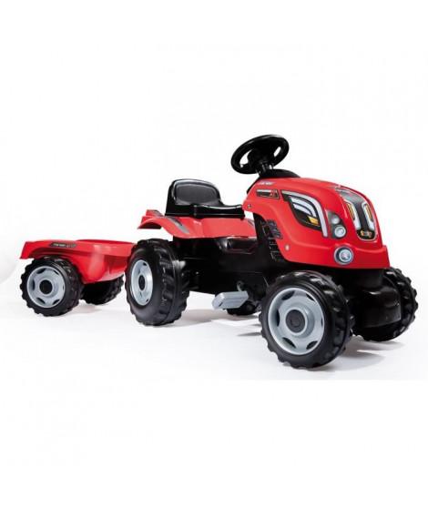 SMOBY Tracteur a pédales Farmer XL Rouge + Remorque