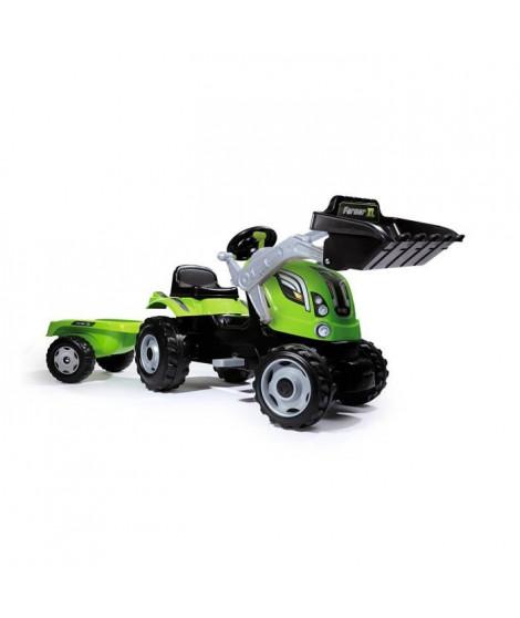 SMOBY Tracteur  a pédales Farmer Max + Remorque