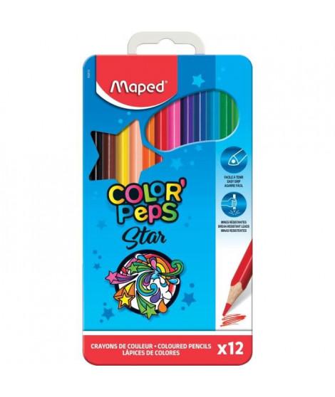 MAPED Boîte Métal de 12 Crayons de Couleur Color'peps