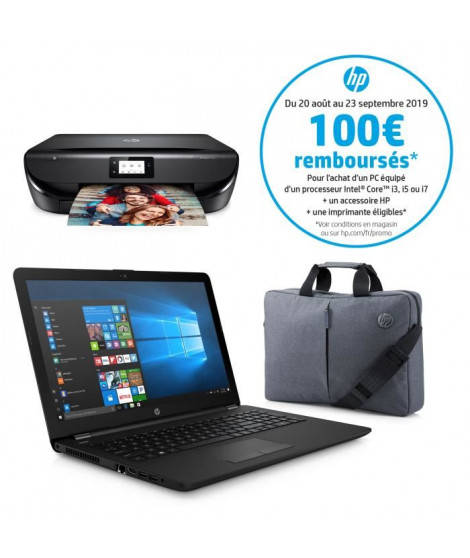 "HP PC Portable 15-bs127nf - 15,5"" HD - Intel Core i3 - RAM 8 Go - Stockage 1 To - Intel HD Graphics - W10 + Imprimante + Sacoche"