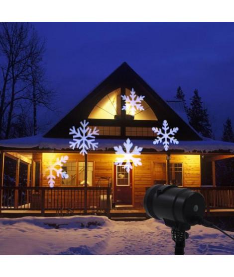 Projecteur avec flocon de neige LV LED 4LT - Blanc froid - Fil noir