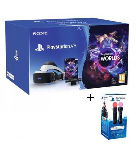 PlayStation VR V2 + PlayStation Caméra + VR Worlds (Voucher) + Paire Manette de détection de mouvements PlayStation Move