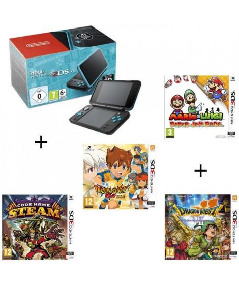 4 jeux + console New Nintendo 2DS XL Noire&Turquoise + Mario & Luigi Paper Jam Bros + Code Name STEAM + Inazuma ElevenGoLumie…