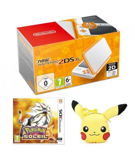 New Nintendo 2DS XL Blanche et Orange + Pokémon Soleil Jeu 3DS + Porté-Clé Porte-Monnaie Peluche Pikachu