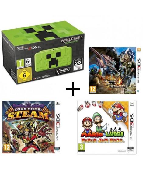 New 2DS XL Minecraft Creeper Edition + Monster Hunter 4 Ultimate + Mario & Luigi Paper Jam +  Code Name : STEAM