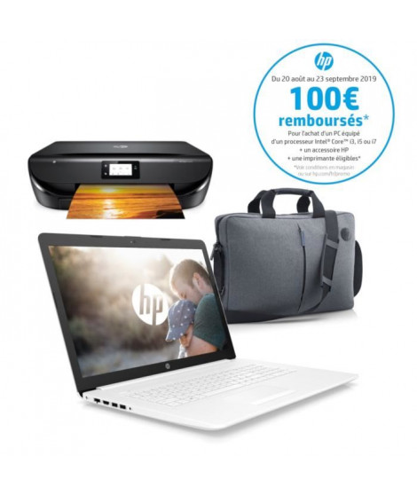 "HP PC Portable 17-by1001nf - 17.3"" HD SVA - Intel Core i5-8265U - RAM 8 Go - Disque dur 1 To - W10 + Imprimante + Sacoche"