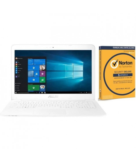 Pack Ordinateur Portable ASUS E402WA-GA074T - 14 pouces - AMD E2-6110 - RAM 4Go - Stockage 64Go  + Norton Security 2018 Deluxe
