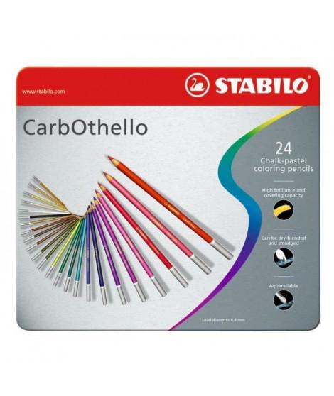 STABILO CarbOthello - Boîte métal - lot de 24 crayons de couleur fusain pastel