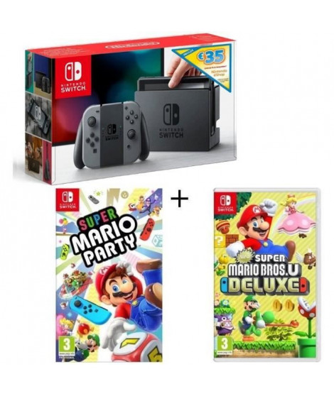 Pack Nintendo Switch Grise Edition Limitée + New Super Mario Bros U Deluxe + Super Mario Party + code téléchargement 35? Nint…