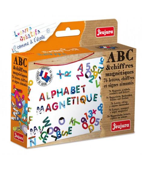 JEUJURA Lettres et chiffres magnétiques Les animaux - Coffret de 76 caracteres pour tableau