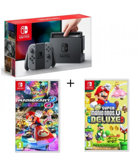 Pack Nintendo Switch Grise + New Super Mario Bros U Deluxe  + Mario Kart 8 Deluxe