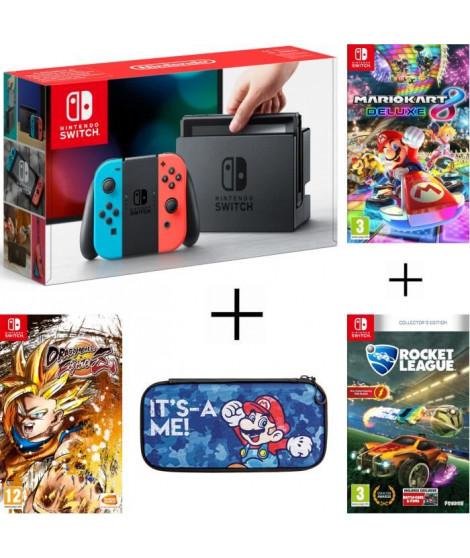 Pack Nintendo Switch Néon + Dragon Ball FighterZ (code in a box)+ Rocket League + housse + Mario Kart 8 Deluxe