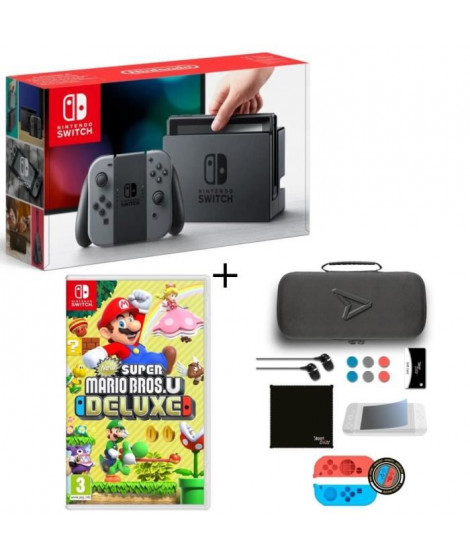 Pack Nintendo Switch Grise + Super Mario Bros U Deluxe + Pack d'accessoires Steelplay 11 en 1