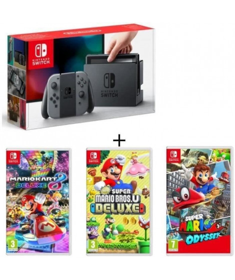 Pack Nintendo Switch Grise + New Super Mario Bros U Deluxe + Super Mario Odyssey + Mario Kart 8 Deluxe
