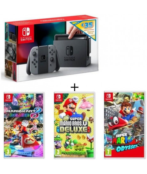 Pack Nintendo Switch Grise Ed.Limitée + New Sup.Mario BrosU Deluxe + Sup.Mario Odyssey + Mario Kart8 Deluxe + code téléchar 3…