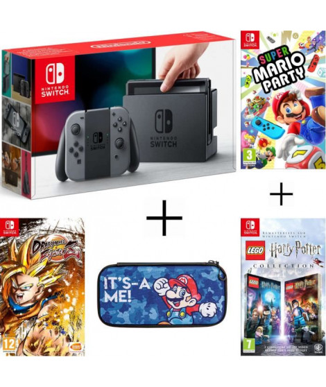 Pack Nintendo Switch Grise + Dragon Ball FighterZ (code in a box) + LEGO HARRY POTTER + housse + Super Mario Party