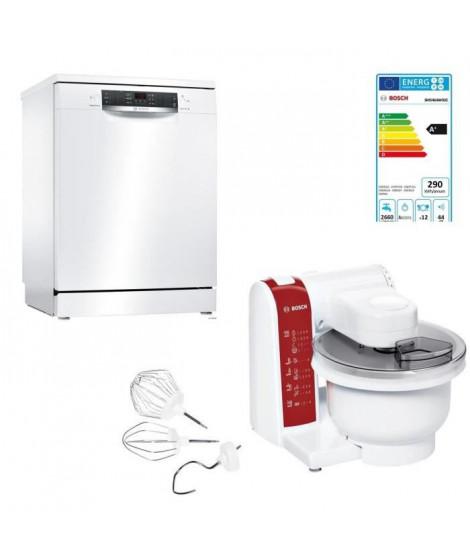 BOSCH SMS46AW03E - Lave vaisselle pose libre - 12 couverts - 44 dB - A+ - L 60 cm + MUM48RE Kitchen machine ProfilMixx - 600 W
