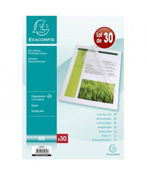 EXACOMPTA 30 pochettes Coins - 210 x 297 mm - Polypropylene Graine Incolore 110µ avec encart