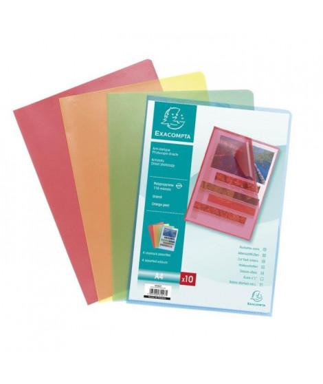 EXACOMPTA 10 pochettes Coins couleur - 210 x 297 mm - Polypropylene Graine 110µ couleurs assorties avec encart