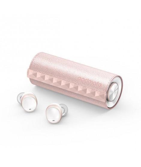 T3-PNK Padmate écouteurs sans Fil PaMu Scroll - Bluetooth 5.0 - Etanche IPX6 -  Tactile - 3h30 d'autonomie - (Blanc/Rose)