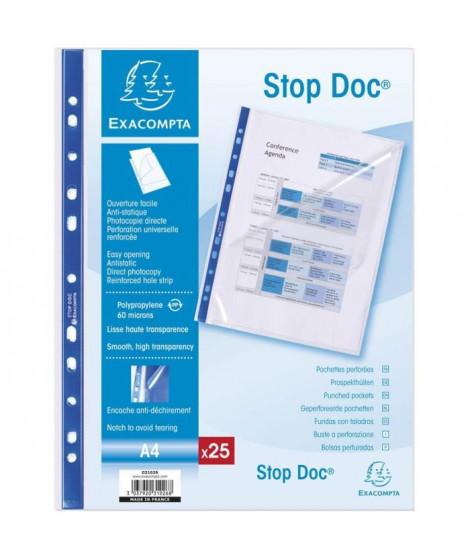 EXACOMPTA - 25 Pochettes perforées - Stop doc - 21 x 29,7 - Polypropylene lisse incolore - 55µ - 11 trous - sous film