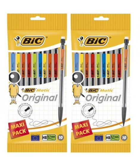 Lot de 2 BIC Matic Original Porte-Mines 0,7 mm HB - Couleurs Assorties, Pochette de 10