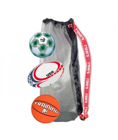 CDTS Ensemble 3 Ballons : Basket  + Foot + Rugby
