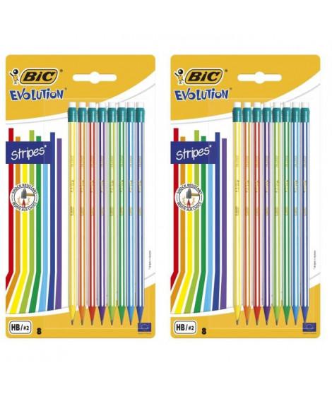 Lot de 3 BIC Evolution Stripes avec Gomme Crayons a Papier HB avec Gomme Intégrée - Couleurs Assorties, Blister de 8