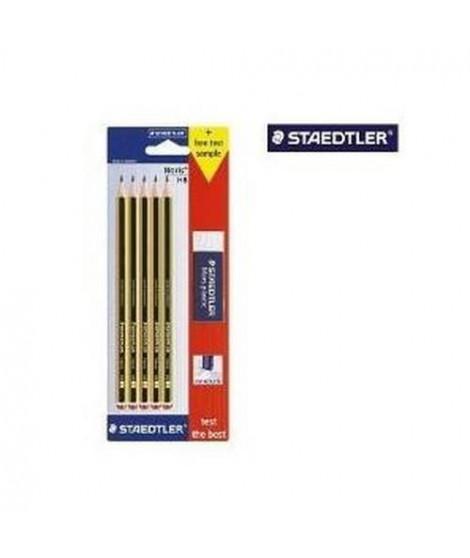 STAEDTLER - Blister de 5 crayons graphite HB Noris 120 + gomme