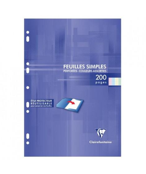 CLAIREFONTAINE - Feuilles simples couleurs - 4 coloris assortis - Perforées - 21 x29,7 - 200 pages Seyes - Papier P.E.F.C 90G