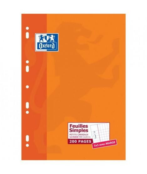 OXFORD 200 feuillets mobiles perforés - Petits carreaux - 29,7 cm x 21 cm x 0,9 cm