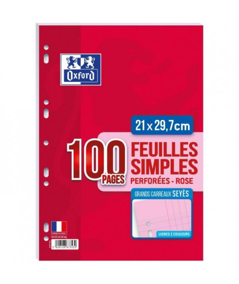 OXFORD Feuilles mobiles A4 Seyes - Rose