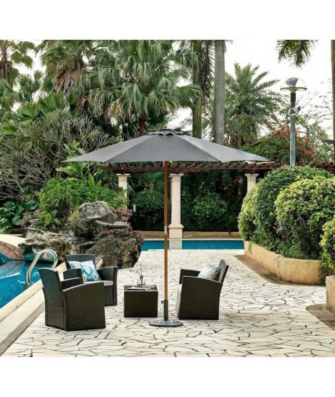 Parasol en bois rond et polyester 160g/m² - Arc 2,7 m - Gris