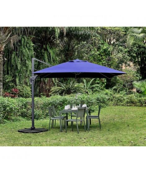 Parasol déporté carré - 3 x 3 m - Rotatif a 360° - Inclinaison latérale - Bleu profond