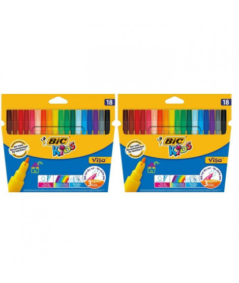 Lot de 2 BIC Kids Visa Feutres de Coloriage a Pointe Fine - Couleurs Assorties, Etui Carton de 18