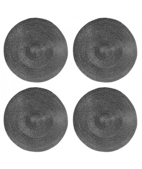 Lot de 4 sets de table rond Rommy - 100% polypropylene - 35 x 35 cm - Gris