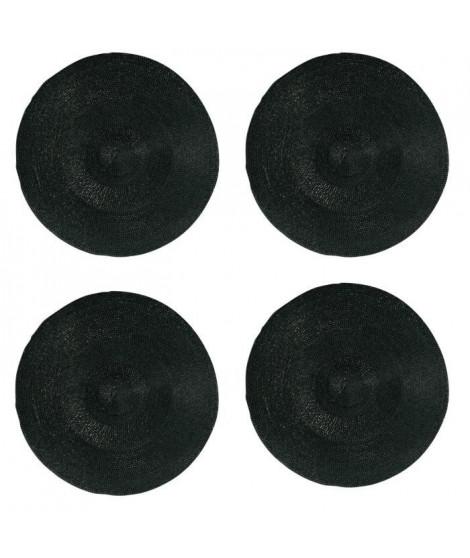 Lot de 4 sets de table rond Rommy - 100% polypropylene - 35 x 35 cm - Noir