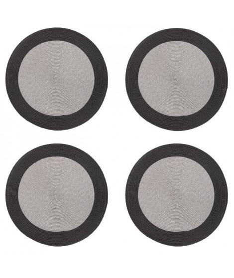 Lot de 4 sets de table rond Rommy - 100% polypropylene - 35 x 35 cm - Gris et ivoire