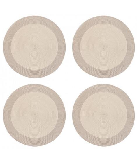 Lot de 4 sets de table rond Rommy - 100% polypropylene - 35 x 35 cm - Beige et taupe