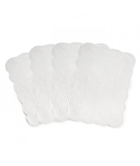 Lot de 4 set de table réversible boutis Romane - 100% coton - 35 x 50 cm - Blanc