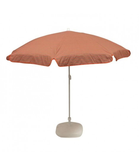 EZPELETA Parasol inclinable Bora - Ø 180 cm - Rayé orange et gris Socle non inclus