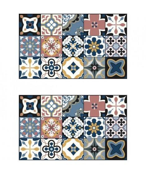 Lot de 2 sets de table Ceramic - 100% Vinyle - 35 x 49,5 cm - Motif Carreaux de Ciment Multicolore