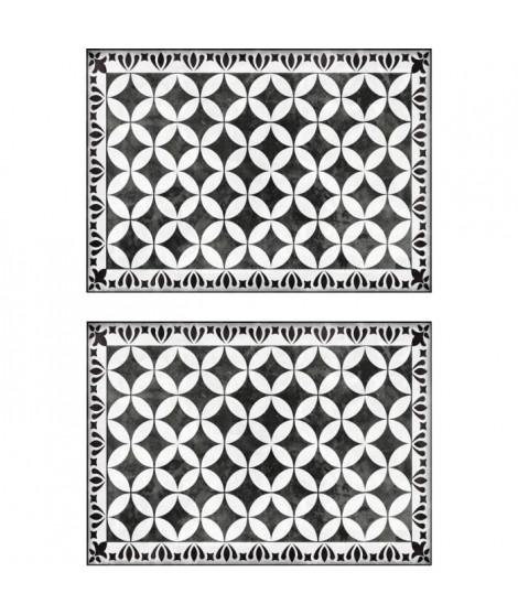 Lot de 2 sets de table Rockfeller - 100% Vinyle - 35 x 49,5 cm - Motif Mosaique - Finition Antique